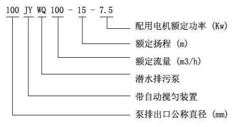 JYWQ自动喷压搅匀排污泵型号意义